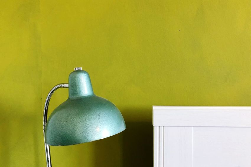 Lamp Green Green Color Wall Painting Wallpaper Interior Interior Design No People Yellow Green Color Indoors  Still Life Close-up Wall - Building Feature Shiny Two Objects Table Decoration Domestic Room Metal Celebration
