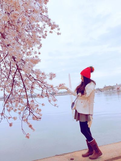 Cherry blossoms Cherry Blossoms One Person Real People Leisure Activity Nature Sky Water Plant Outdoors Lifestyles Beauty In Nature