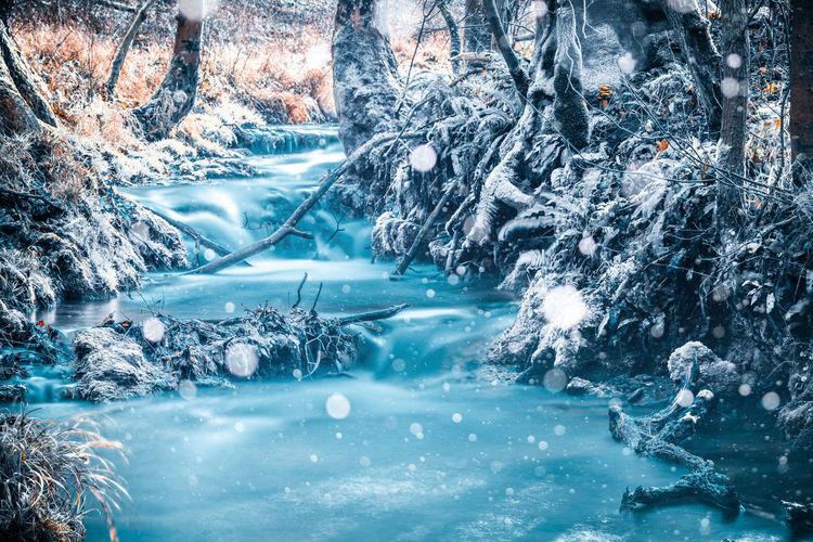 Frozen water in winter