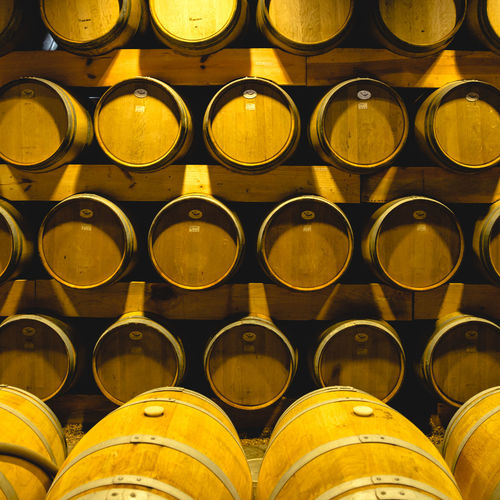Paint The Town Yellow Abundance Arrangement Backgrounds Barrel Day Full Frame In A Row Indoors  Large Group Of Objects No People Stack Wine Cask Winery