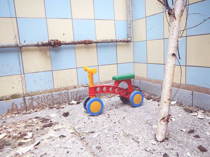 Toy vehicle in abandoned home