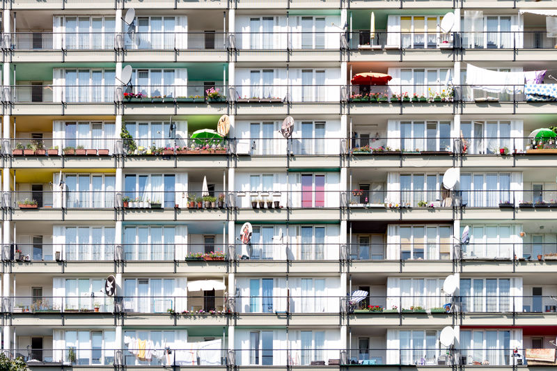 Pallasseum public housing Berlin Architecture Pallasseum Public Transportation Sozialpalast Uniform Apartment Balcony Building Colorful Condominium Facade Building Full Frame House Metropolis Migrants Neighborhood Personalized Residental Sattelite Dish Social Housing Uniqueness Urban Window
