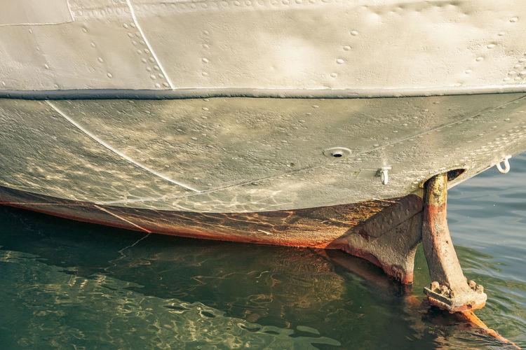 Old Ship Close-up Metal Mode Of Transportation Nautical Vessel Old Reflection Rudder Sea Ship Transportation Water Waterfront