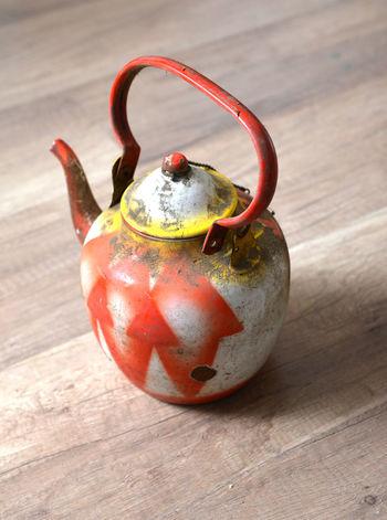 old tea pot Red Retro Shapes Tea Colorful Dirt Dusty Pot Tea Pot Vintage Vintge Yellow