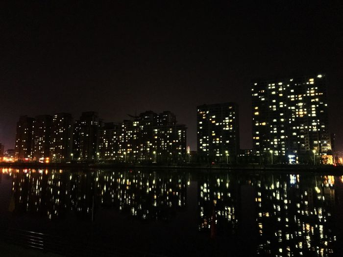Night Illuminated Building Exterior Architecture Built Structure Water City