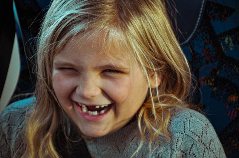 Close-up portrait of a smiling girl