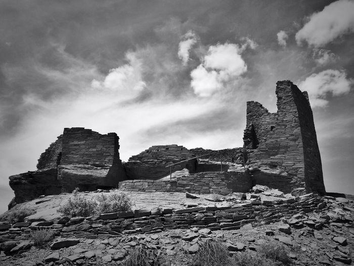 Abandoned built structures on landscape