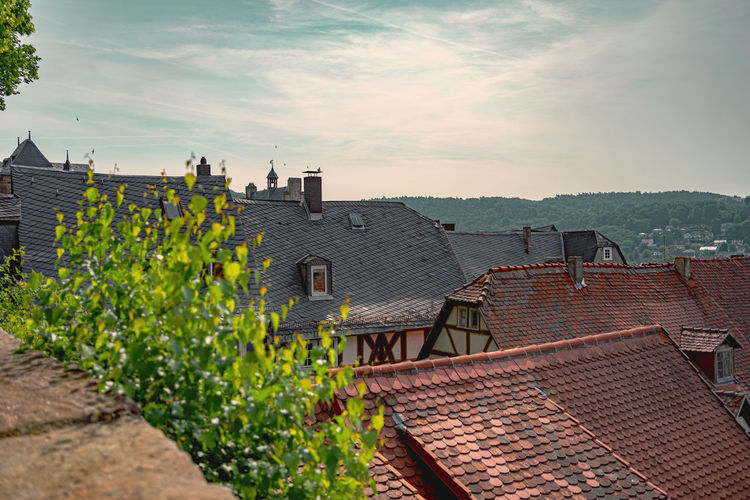 Architecture Built Structure Building Exterior Building Roof Residential District House Sky Nature Roof Tile Plant City No People Day Cloud - Sky Outdoors High Angle View Growth Town Landscape Dächerblick Altstadt Marburg An Der Lahn Altstadt Retro Styled