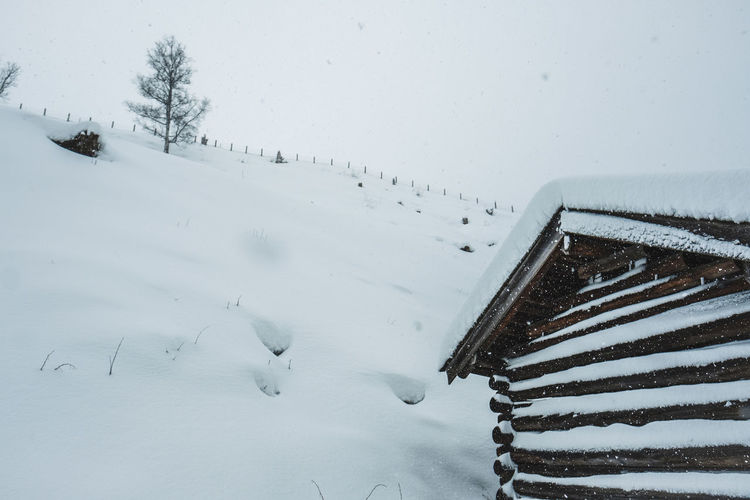 Snow Winter Cold Temperature Nature White Color Covering Beauty In Nature Day Scenics - Nature Tree Field Architecture Land No People Built Structure Tranquility Tranquil Scene Outdoors Non-urban Scene Extreme Weather Snowing Snowcapped Mountain Wooden Lodge Winter Wonderland
