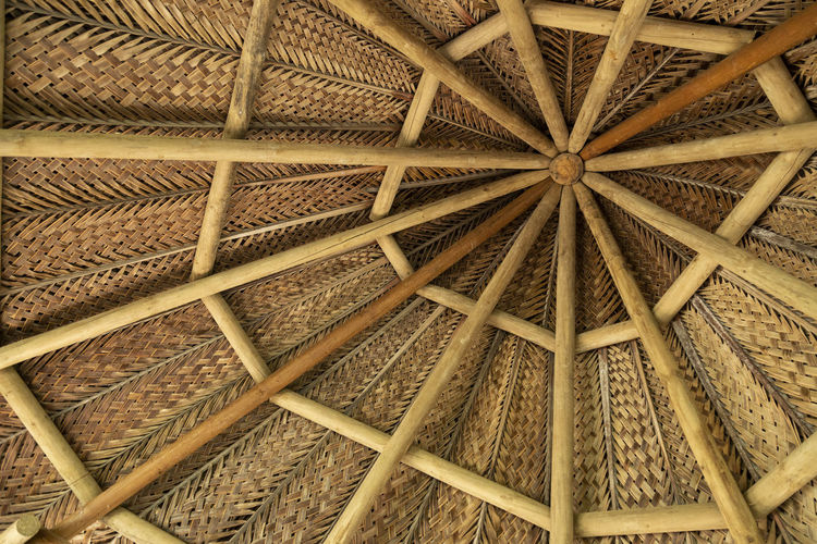 ... Full Frame Pattern Backgrounds Textured  Low Angle View Wood - Material Roof Ceiling Thatched Roof Art And Craft Architecture Design
