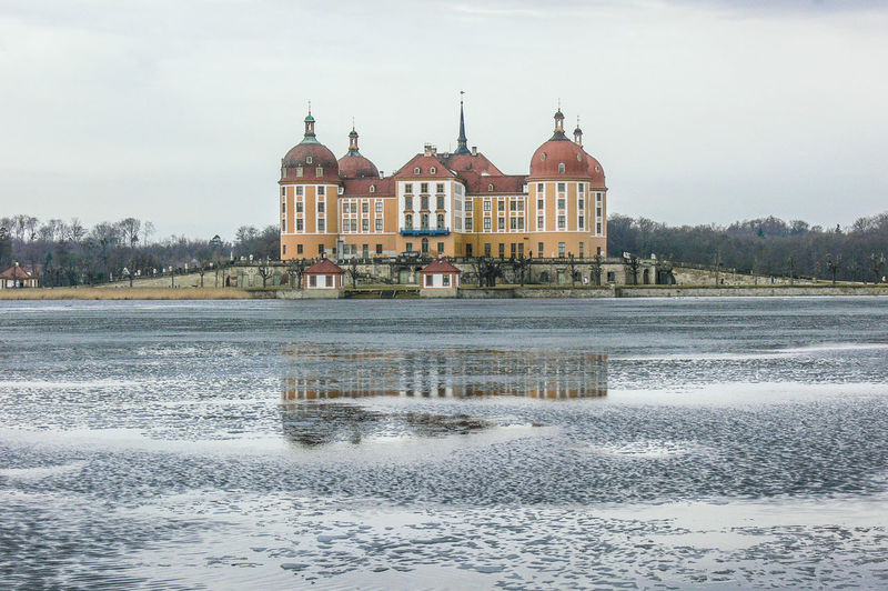 lake and castle Moritzburg in Saxony Castle Ice Winter Architecture Building Exterior Built Structure Day Lake Nature Outdoors Sky Travel Destinations Tree Water Waterfront