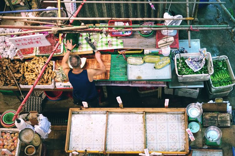 Real People For Sale Small Business Large Group Of Objects Occupation Retail  Men Market Stall Working Day Market Skill  One Person Workshop Outdoors Food People City Sony Tim Wong Hong Kong
