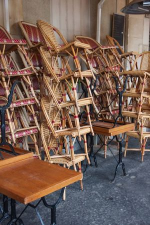 Paris Waiting Cafe Chair No People Opening Pattern Stacked Chairs Table