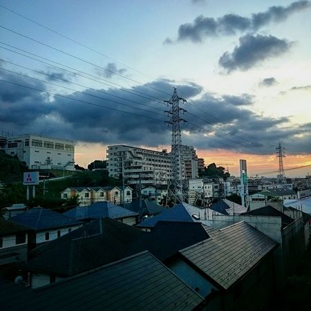 Sunset Clouds Sky Cloud - Sky Electric Wire The Summer Sky Transmission Line Tower Town View