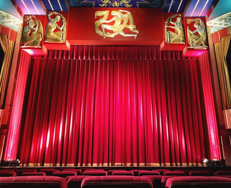 Red Low Angle View No People Illuminated Indoors  Film Industry Vintage Moviehouse