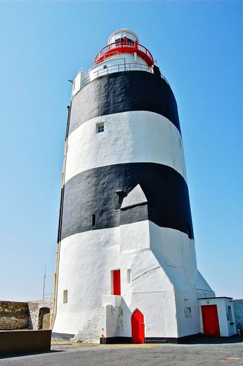 Lighthouse Lighthouse_lovers Sunny Day Hook Head, Ireland Stripes Pattern White And Black Red Door