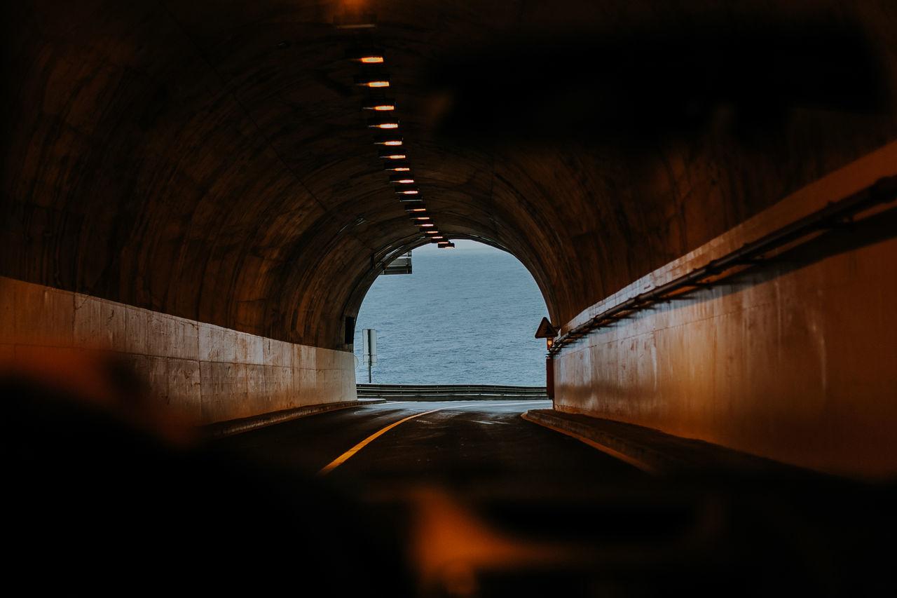Tunnel seen through windshield