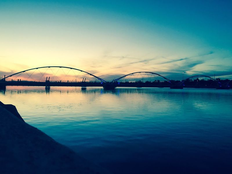 The City Light Architecture Built Structure Sunset Water Outdoors Sky Bridge - Man Made Structure No People Day EyeEmNewHere Travel Photography Arizona Tempe Az Tempe Town Lake Check This Out Sky And Clouds Fresh On Eyeem  New Talents Welcome To Black
