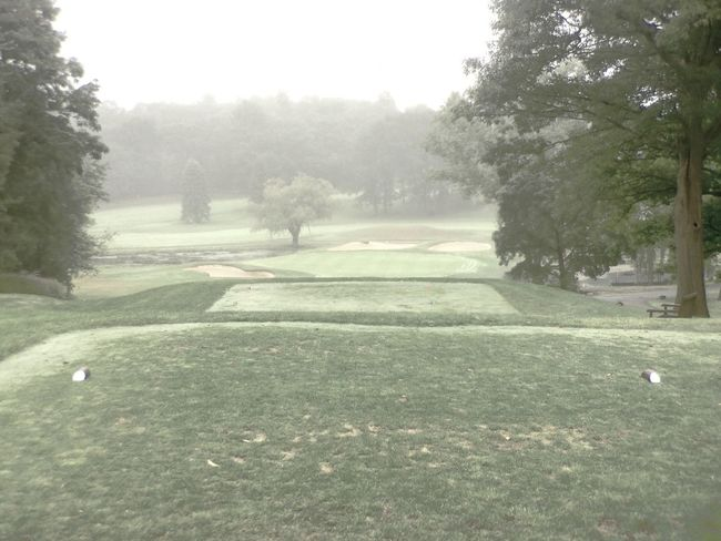 It's a foggy morning in Middleton. Golf Course Tee Box
