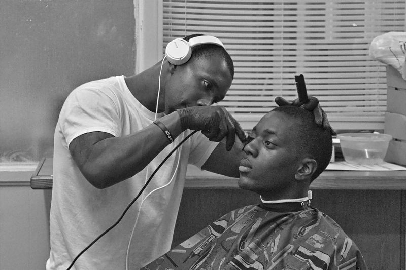 Fresh cut. Haircut Barbershop Barber Barber Life Clipper Headphones On  Headphones Streetphotography Streetphotography_bw Candid Blackandwhite Photography Black And White Photography Street Photography Blackandwhite Indoors  Canon_photos Unbreakable. Justgoshoot Lifephotography Shoottolive Canonphotography Canon People Human Body Part