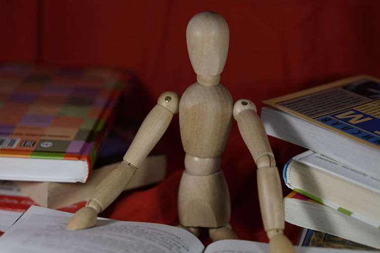 Wooden figurine with books