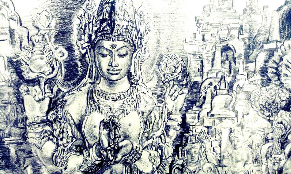"Georgy Poplavsky ""Borobudur — the path of truth"" Human Representation Art And Craft Full Frame Religion Art Creativity Buddha Buddhism People Museum"