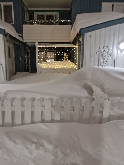 Snow on bed in building