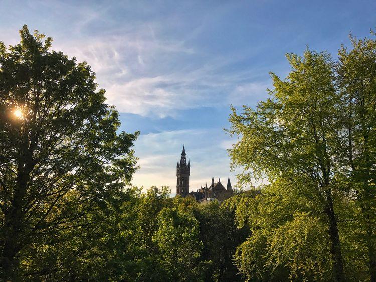Kelvingrove Park, Glasgow Tower Architecture Tree Sky Outdoors Glasgow  GlasgowUniversity Scotland Kelvingrove Blue Sky Park