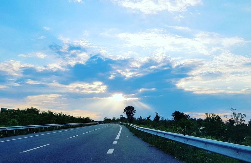 Tree Road Blue Journey Highway Sky Cloud - Sky Landscape Road Marking Asphalt Empty Road Country Road Car Point Of View
