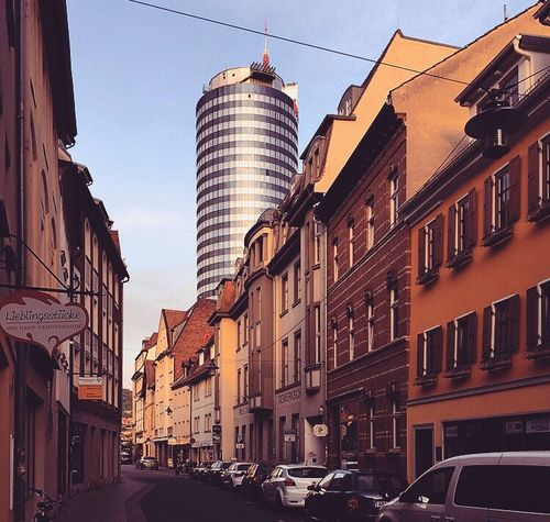 Architecture Building Exterior Car Built Structure Street City Transportation Mode Of Transport City Street Land Vehicle Day Low Angle View Outdoors Sky No People Clear Sky Cityscape Thuringen Jena