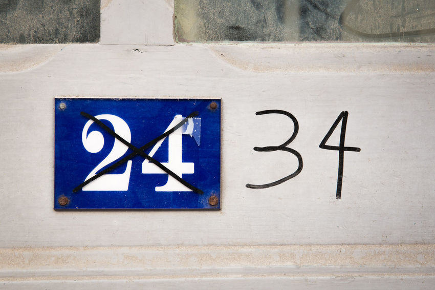 Celebration Midlife Crisis Aging Process Art And Craft Birthday Blue Close-up Communication Creativity Day Frustration Guidance Information Information Sign Life Events No People Number Number 24 Number 34 Outdoors Sadness Sign Symbol Text Wall - Building Feature