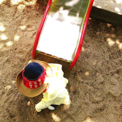 休日の一コマ Park Daughter Slider Sandpit Holiday