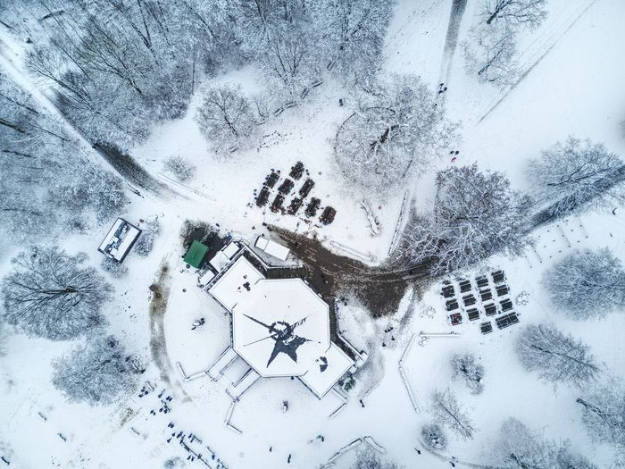 Aerial View Of House During Winter