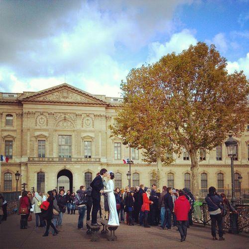 Outdoor Weddingceremony Parisfrance Lovebridge