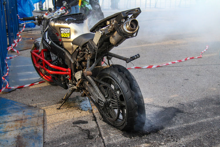 Burnt Tire Day Motorcycle Motorcycles No People Outdoors Press Photography Transportation