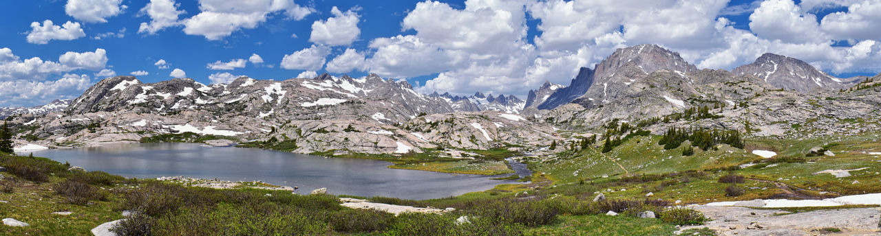 Upper and Lower Jean Lake in the Titcomb Basin along the Wind River Range, Rocky Mountains, Wyoming, views from backpacking hiking trail to Titcomb Basin from Elkhart Park Trailhead going past Hobbs, Seneca, and Island Lakes as well as Photographers point. Alpine Melting Reflection Titcomb Wind Rivers America Background Banner Glacier Mountainscape Pano Park Peaceful River Run Off Snow Wallpaper