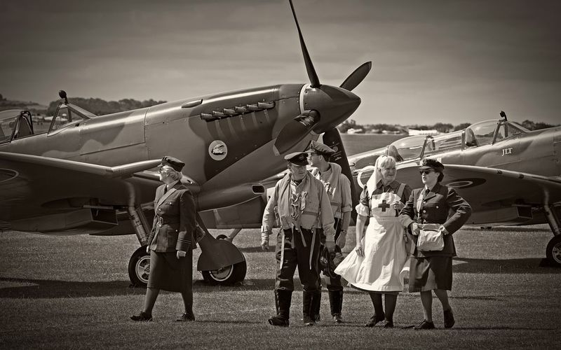 resting between sorties Eye4photography  Flying Legends Battle Of Britain Canon Eos 650D Monochrome 1940s Black And White Blackandwhite Sepia EyeEm Best Edits
