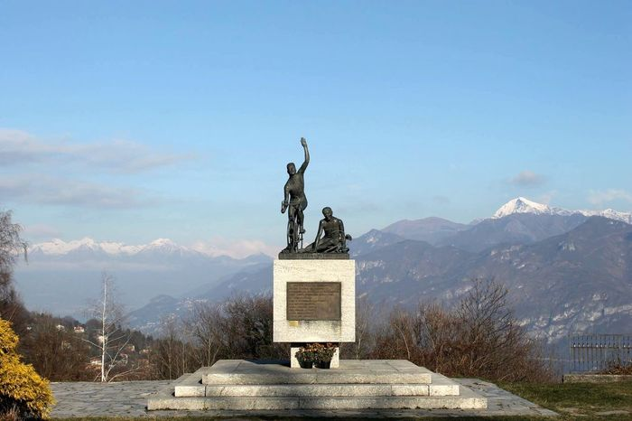 Italy Mountain Sky Sculpture Art And Craft Statue Mountain Range Human Representation Nature Representation No People Day Memorial Travel Destinations Cloud - Sky Travel Scenics - Nature Winter Snow Architecture Monument