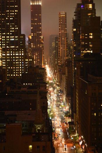 Night Street Urban New York City Cars Skyline Work USA