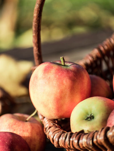 Close-Up Of Apples On Wicket Basket