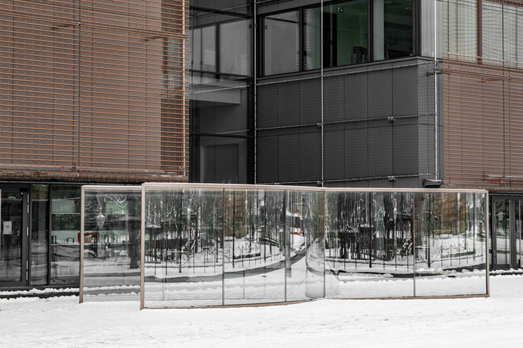 View of building in city during winter