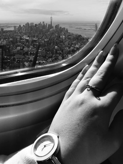 Plane Window Vehicle Interior Transportation Mode Of Transport Window Journey Human Hand Travel Day Cityscape City Sky Mobility In Mega Cities