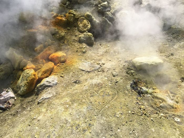 italy Nature Beauty In Nature Day Environment Geology Heat - Temperature High Angle View Hot Spring Land Landscape Nature No People Non-urban Scene Outdoors Physical Geography Pollution Power In Nature Rock Rock - Object Smoke - Physical Structure Solid Steam Volcanic Crater