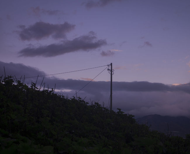 Sky Cloud - Sky Beauty In Nature Nature Scenics - Nature No People Tranquility Plant Tranquil Scene Sunset Tree Connection Outdoors Non-urban Scene Electricity  Electricity Pylon Land Growth Mountain Power Supply