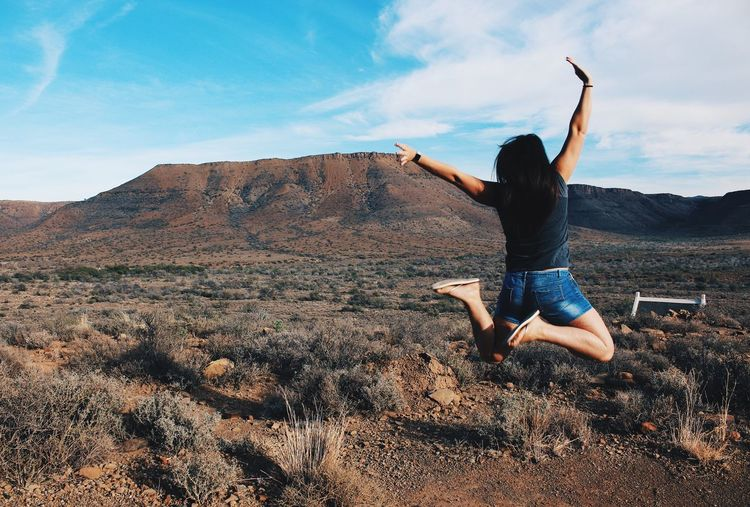 Jump Mountains Nature Beautiful Girl Nature Blue Sky Photography Beauty In Nature Canon Scenics Outdoors Landscape Nature South Africa Eye4photography  EyeEm Best Shots Real People One Person Tranquil Scene Young Adult Rear View Betterlandscapes Fitness TCPM