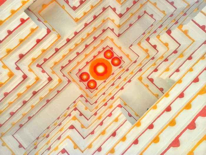 Perspective Pattern Pieces Pattern Composition Temple - Building Home Interior Architecture Built Structure Indoors  No People Decoration Ceiling Geometric Shapes Color Of Life! Color Of Life