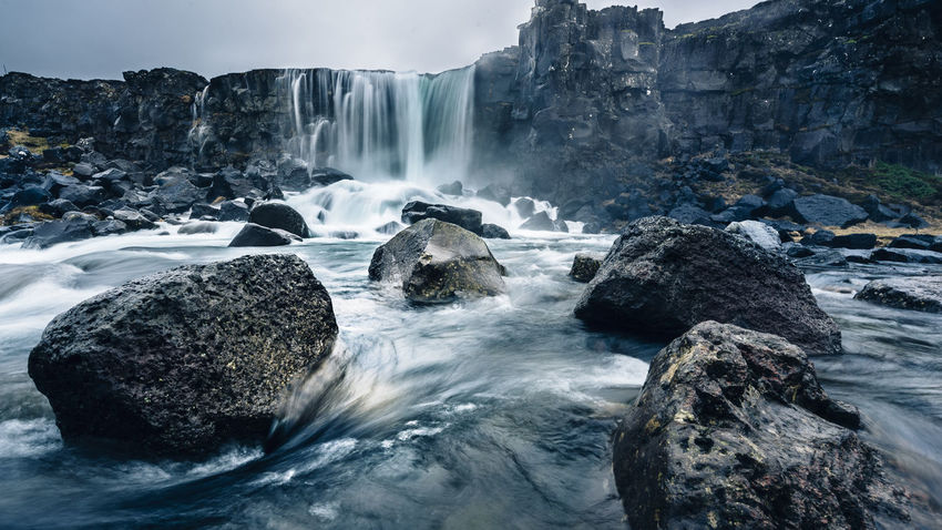 Iceland: Land of Ice and Fire. And Waterfalls Beauty In Nature Day Long Exposure Motion Nature No People Outdoors Rock - Object Scenics Tectonic Tectonic Plates And Earthquakes Tectonicplate Thingvellir Thingvellir National Park Travel Destinations Water Waterfall Wide Angle Wide Angle View Winter þingvellir The Great Outdoors - 2017 EyeEm Awards Shades Of Winter