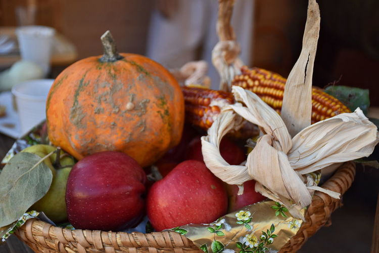 Close-up of pumpkins in basket on table at market