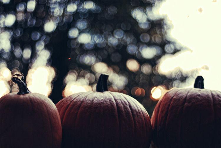 View of three pumpkins