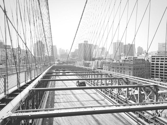 Brooklyn Bridge  New York New York City Bridge Puente USA United States NY City Cityscape Monochrome Black And White Manhattan Skyscraper Architecture Cityscape Urban Skyline Day Lonely Car EyeEmNewHere